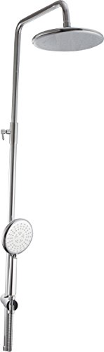 Hindware F160098CP Brass Shower with Wall Mixer, Grey