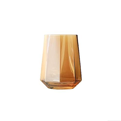 HEIYANQUANblb Botella De Agua, Vidrio de Vidrio, Forma Creativa, geométrica Octagonal, Vidrio para Beber, Copa de Vino, Whisky (Color) Tamaño: 10.5 * 6.5 cm (Color : Orange)