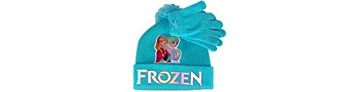 Disney Frozen Elsa & Anna Girls Winter Hat & Gloves Turquoise Toggle Top