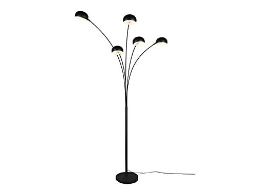 Reality Leuchten Beleuchtung Lámpara de pie LED de 5 brazos (metal, altura 210 cm), diseño retro, color negro
