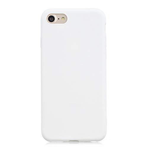 cuzz Funda para iPhone 7/8 Plus+{Protector de Pantalla de Vidrio Templado} Carcasa Silicona Suave Gel Rasguño y Resistente Teléfono Móvil Cover-Blanco
