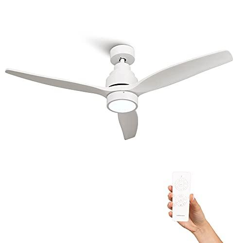 Mellerware - Ventilador de Techo con Mando a Distancia Brizy Bright | 45 W | 6 Velocidades | Ultra silencioso | 3 Aspas 132 de Diámetro | Función Verano-Invierno | Temporizador | LED | White