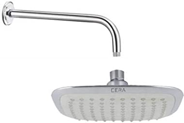 CERA Stainless Steel 380 mm Shower Arm With Overhead Shower, White, Chrome Finish
