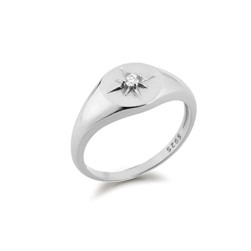 925 plata estrella de oro circón brillante redondo grueso anillos mujeres Rock Punk joyería clásica Wedding-7_Silver