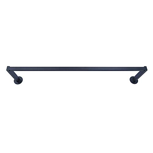 OROPY Riel para ropa montado en la pared, estante de ropa de hierro retro de alta resistencia de 117 cm, barra colgante negra para guardar el armario