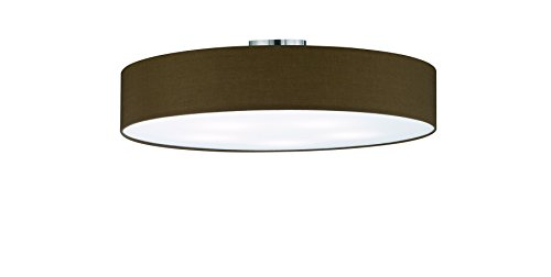 lightling modern Deckenleuchte in nickel matt, Stoffschirm braun, 5 x E27 max. 60W, ø 65 cm, Höhe: 17 cm