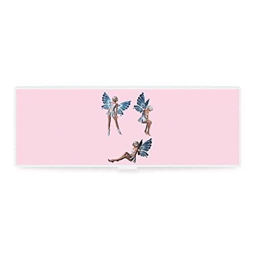 Estuche de lápices transparente pequeño y grande, diseño de cuento de hadas lindo ángel elfos azul alas pintura herramienta caja de colección para oficina woker hombres mujeres unisex
