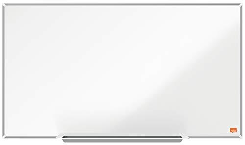 Nobo Magnetisches Widescreen-Nanostahl-Clean-Whiteboard mit Stiftablage, 710 x 400 mm, Schlanker Zierrahmen, InvisaMount-Montagesystem, Impression Pro, Weiß, 1915253