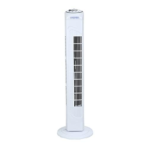 Ventilador de la Torre oscilante de 32 Pulgadas, 3 ajustes de Velocidad Temporizador de 2 Horas con Apagado automático, Blanco 81 cm sacudiendo su Cabeza de Ventilador de Aire Acondicionado sin Hojas