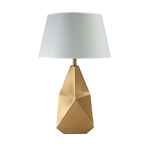lámpara de noche Lámpara de mesa geométrica Metal de oro Mesa de noche Lámparas de mesa de noche Lámpara de escritorio con tela Shade Geométrica Metal Base para sala de estar Dormitorio Luz de escrito