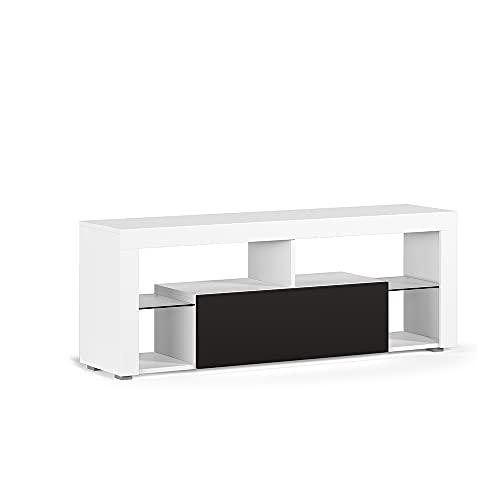 Vicco Lowboard LED TV Hugo TV Schrank Fernsehtisch Fernsehschrank (Weiß/Schwarz)