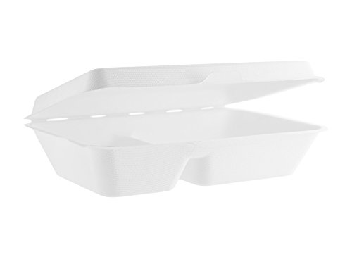 Vegware B002 9 x 6in Two Compartment Bagasse Clamshell (Case of 200)