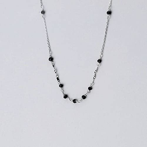 Good dress Collar de Regalo para Mujer Collar de Plata S925, Cadena de Clavícula Irregular Simple de Diamante Negro de Moda Femenina,plata s925, Plata 925