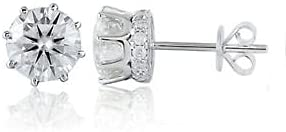 4Ct Round Cut Moissanite Push Back Solitaire Stud Earring 14K White Gold Plated