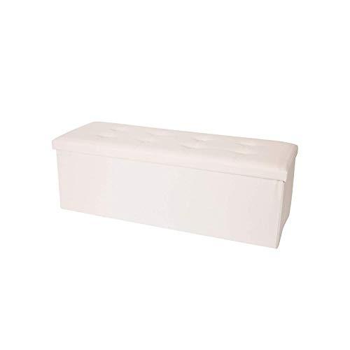 Rebecca Mobili Puff contenedor blanco, baúl de piel sintética para almacenar, plegable, con tapa- Medidas: 38 x 110 x 38 cm ( AxANxF) - Art. RE4907