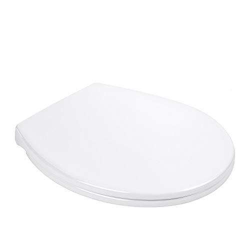 WC Sitz, TACKLIFE DBTS07BJ O-förmiger rutschfester Toilettensitz, weißer Toilettendeckel mit sanfter Absenkfunktion, Toilettenabdeckung mit einfacher Montage und Demontage