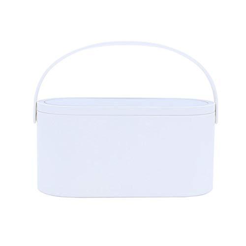 PsgWXL Boîtes de Rangement Cosmetic avec Miroirs à LED Réglage D Éclairage Smart Organisateurs de Grande Capacité Rotatifs pour Accessoires de Maquillage de Charge USB,Blanc