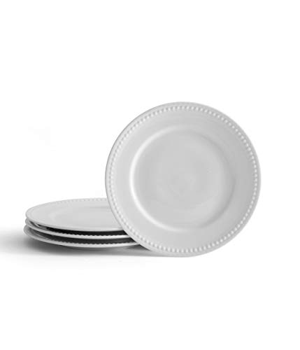 Everyday White by Fitz and Floyd Beaded 8.5 Inch Salad Plates, Set of 4