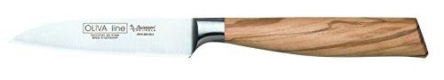 Burgvogel Solingen Gemüsemesser 9 cm geschmiedet Olivenholz, Oliva Line, rostfrei, deutsches Küchenmesser, hell, scharf