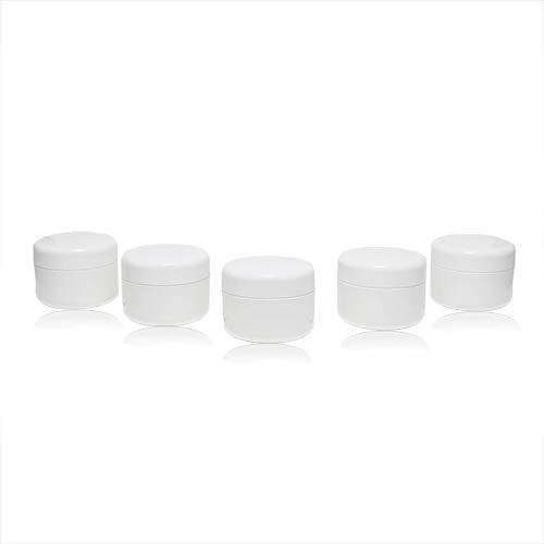 Un ensemble lucratif de conteneurs vides avec un couvercle pour remplir de gel, couleur blanc, plastique, à double paroi - 5x25g