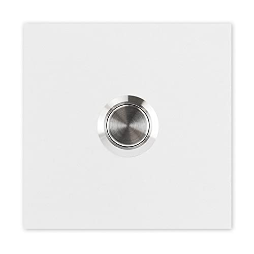 MOCAVI RING 110 Design-Klingel weiß (RAL 9003) matt quadratisch, Klingeltaster Edelstahl, Klingelplatte