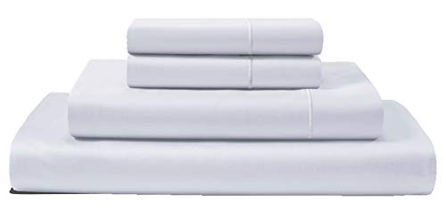 CHATEAU HOME COLLECTION 100% Egyptian Cotton 4-Piece Sheet Set 800 Thread Count 16 inch Deep Pockets (fits Upto 18' mattresses) Solid Sateen Weave Hotel Luxury Soft Comfort Bedding (Queen, White)