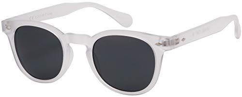 La Optica, occhiali da sole unisex, protezione UV 400, cat. 3 CE, ovali/rotondi, colorati, confezione singola o doppia Trasparente opaco (lenti: grigio). S