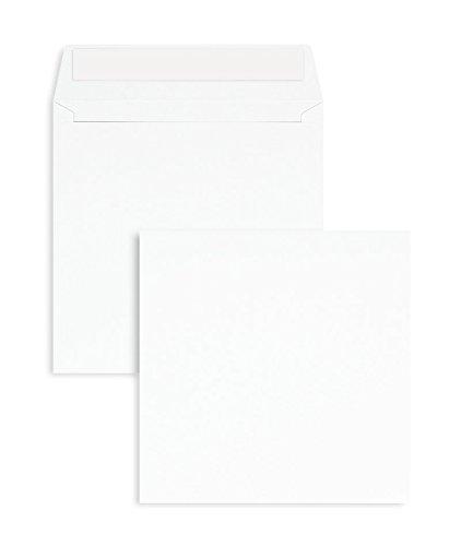100 Stück, Briefumschläge, 155 x 155 mm, Haftklebung mit Abziehstreifen, Gerade Klappe, 100 g/qm Offset, Ohne Fenster, Weiß, Blanke Briefhüllen