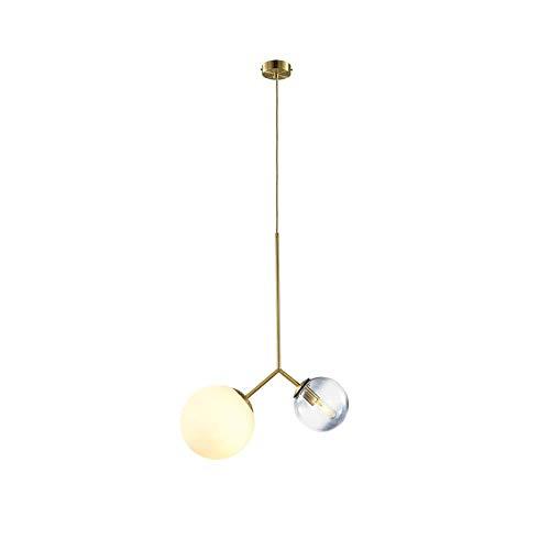 COCNI Nordic Modern Colgante Lámpara Bola de Cristal Chandelier 2 Luces Gold E14 Hierro Forjado Colgante Luz Luz Shade Acrílico Altura Ajustable Sala Estudio Restaurante Techo Luz de Techo
