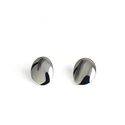 Pendientes De Plata Para Mujeres, S925 Geometría Irregular Distorsión Ovalada En Forma De Lágrima Minimalismo Pequeño Pendiente De Botón De Metal Para Mujer Regalo De Cumpleaños / San Valentín