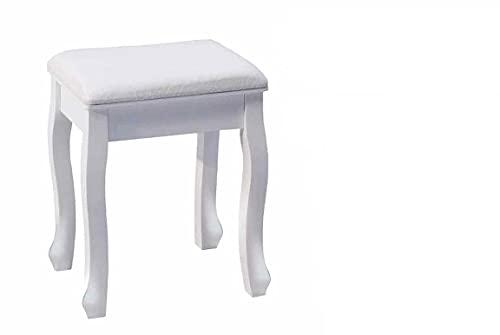 Kasahome Taburete de madera blanco con asiento cómodo, silla taburete, puf, modelo moderno, para casa, salón, bar, salón, decoración, estilo shabby chic, 40 x 30 x 50 cm