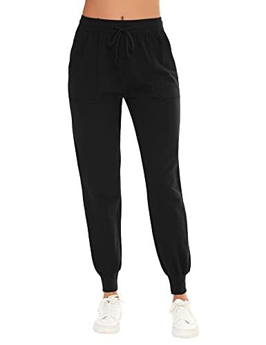 Pantalon Chandal Mujer 100% Algodón Pantalones Deportivos Mujer Verano con Bolsilpara, Pantalon Chandal Mujer Largo Talla Grande para Gimnasio Deportes Correr Jogging (A-Negro,XL