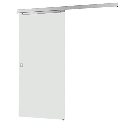inova Glas-Schiebetür 880 x 2035 mm vollflächig satiniert Alu Komplettset mit Lauf-Schiene und Quadratgriff beidseitiger Softclose