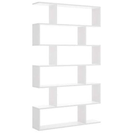 Mobelcenter - Estantería Alta Blanca con 6 Huecos - Librería Alta Blanca salón 6 Huecos - Estantería 190 cm de Alto x 25 cm de Fondo x 80 cm de Ancho ...