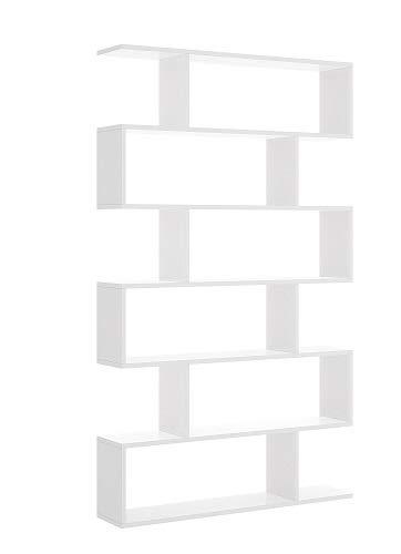Mobelcenter - Estantería Alta Blanca con 6 Huecos - Librería Alta Blanca salón 6 Huecos - Estantería 190 cm de Alto x 25 cm de Fondo x 80 cm de Ancho (1020)