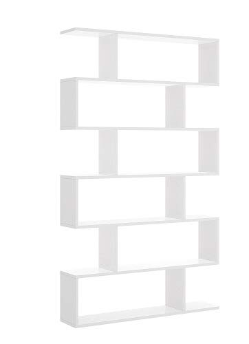 Mobelcenter - Estantería Alta Blanca con 6 Huecos - Librería Alta Blanca salón 6 Huecos - Estantería 190 cm de Alto x 25 cm de Fondo x 80 cm de Ancho (1020): Amazon.es: Hogar