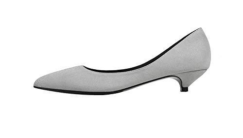 Soulength Las Mujeres Kitten Heels 3CM Point Toes Suede señoras Bombas Antideslizante Suela de Goma Sexy Elegante cómodo Solo Zapatos 34-43EU