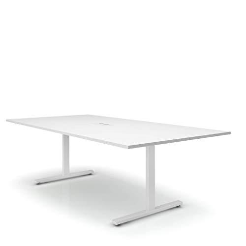 Easy Konferenztisch 240x120 cm Weiß mit ELEKTRIFIZIERUNG Besprechungstisch Tisch, Gestellfarbe:Weiß