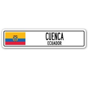 3 Pack: CUENCA, ECUADOR Street Sign Sticker 3' Ecuadorian flag city country road - Sticker - Construction Toolbox, Hardhat, Lunchbox, Helmet, Mechanic, Luggage, Skateboard, Surfboard, Bumper