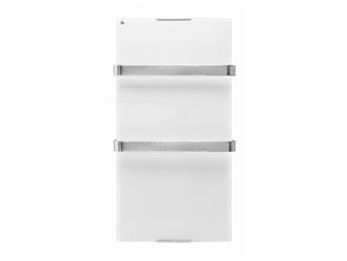 PURLINE ZAFIR V600T W - Elektrischer Handtuchheizkörper aus gehärtetem Weißglas, WIFI App-Steuerung und Wochenprogramm