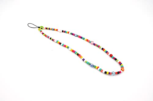 Phone Straps Laccetto o Tracolla per cellulare con perline e charm colorati (Multicolor Cm 26)