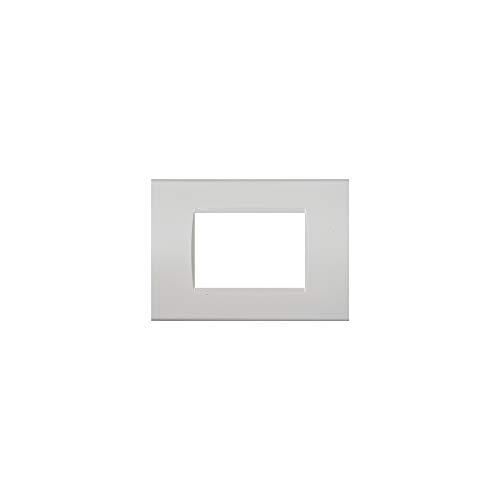 LineteckLED -LNT8003 1- Serie Completa di Placche per Interruttori Prese- Placca 3 Posti Bianco 3M Compatibile living (Bianco)
