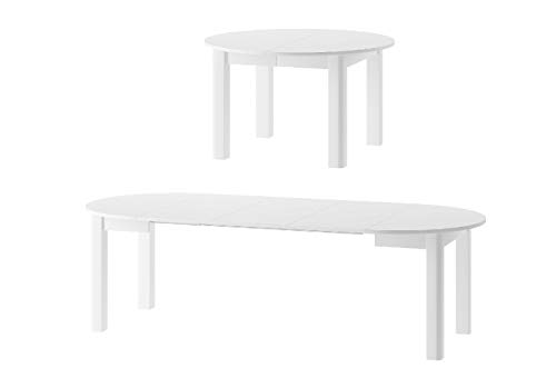 MPS Möbel praktisch Tisch INDUS 105x76x105 cm cm Esstisch mit ausziehbarer Tischplatte auf 240 cm ausziehbar Küchentisch Esszimmertisch Ausziehtisch (Weiß Matt)