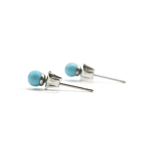 4mm Turquoise Ball Studs, Tiny Stud Earrings For Women, Hypoallergenic Surgical Steel