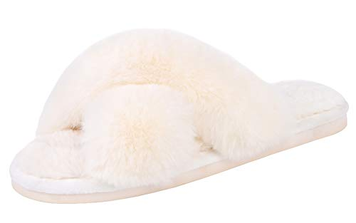 Women's Cross Band Slippers Soft Plush Furry Cozy Open Toe House Shoes Indoor Outdoor Faux Rabbit Fur Warm Comfy Slip On Breathable Cream 7-8