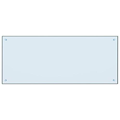 Lechnical Hitzebeständige Küchen-Spritzplatte aus gehärtetem Glas, familienpraktische Moderne Küchen-Spritzplatte 120 x 50 cm (Länge x Breite) - universell für Gas- und Induktionsherde Weiß