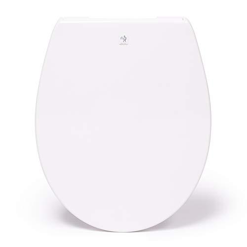 Blauer Hahn WC Sitz Isar oval weiß. Toilettendeckel mit Absenkautomatik und abnehmbar. Antibakterielle Klobrille aus Duroplast und rostfreiem Edelstahl.