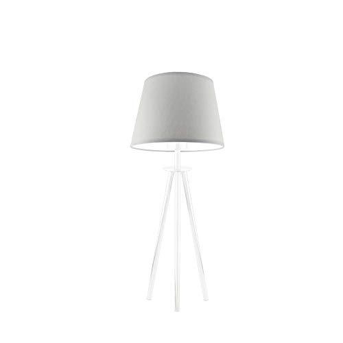 Bergen - Lámpara para mesita de noche, pantalla de lámpara, color gris claro, marco blanco