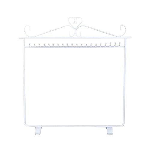 jwj Estante de joyería con soporte de joyería ho Colgador de collar Soporte de exhibición de metal negro con estante de joyería (Color: W4466 blanco)