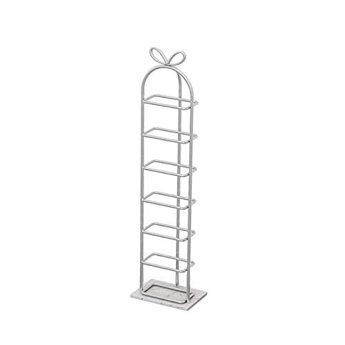 LYLY Zapatero de hierro creativo nórdico, estante de zapatos multicapa para zapatos, base de mármol, para dormitorio, armario, entrada, dormitorio, zapatero (color: blanco, tamaño: 7 niveles)